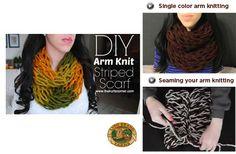 Arm Knit a Colorblocked Scarf with Audra Kurtz from The Kurtz Corner!