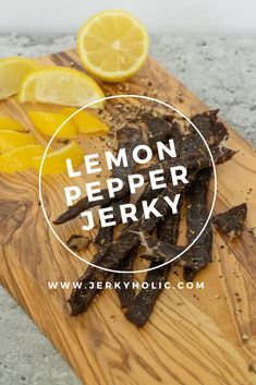 A lemon peppered jerky that will get your taste buds begging for more. A little spice and refreshment from the lemon pepper is what makes this recipe work. Smoker Jerky Recipes, Jerkey Recipes, Venison Recipes, Sausage Recipes, Jerky Dehydrator, Dehydrator Recipes, Peppered Beef Jerky Recipe, Making Beef Jerky, Nice To Meat You