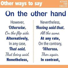 "Forum | ________ Learn English | Fluent LandOther Ways to Say ""On the Other…"