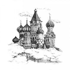 Pen and ink illustration of St. Basil's Cathedral in Moscow.