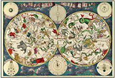 Pôster Mapa Celestial (1670) - Frederick de Wit viveu de 1629/1630 à 1706, foi um cartógrafo e artista que desenhou este Mapa Celestial em 1670.
