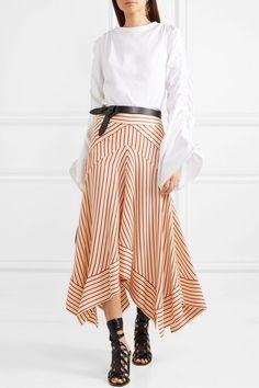 Diane von Furstenberg   Asymmetric striped satin midi skirt   NET-A-PORTER.COM
