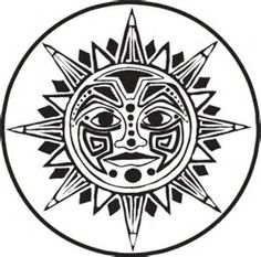 Image result for Aztec Sun Stone Coloring Pages