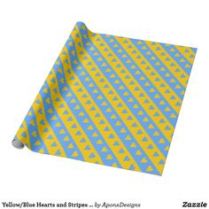 Shop Yellow/Blue Hearts and Stripes Pattern Wrapping Paper created by AponxDesigns. Pink Wrapping Paper, Gift Wrapping, Picnic Blanket, Outdoor Blanket, Present Gift, Yellow Stripes, Create Your Own, Wraps, Blue Hearts