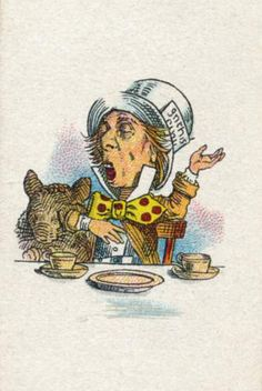 The Mad Hatter from Lewis Carroll's <i>Alice in Wonderland</i>, after an illustration by John Tenniel, color printed by Edward Evans, from the <i>Alice in Wonderland</i> series of cigarette cards produced by Carreras Limited, 1930.