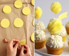 Love these paper pom-poms as cupcake toppers. It would be awesome if they were edible!