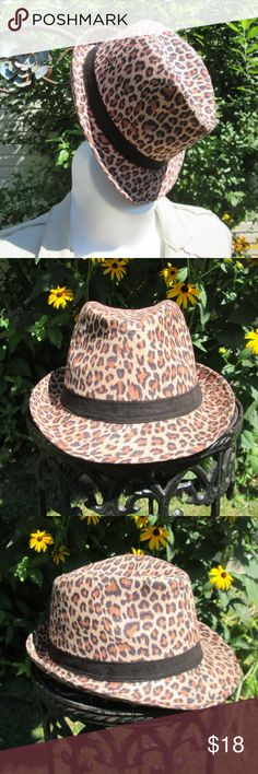 Leopard Print Fedora Super cute year round neutral. Longer front brim perfect for that sassy tilt! Excellent condition. Miley Cyrus & Max Azria Accessories Hats