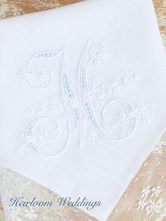 Wedding gift for a bride something blue embroidered handkerchief baptism gift boy girl personalized monogram baptism custom monogrammed Top Wedding Trends, Wedding Tips, Wedding Favors, Gift Wedding, Wedding Venues, Wedding Decorations, Wedding Invitations, Fairytale Weddings, Cinderella Wedding