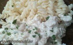 Fokhagymás-tejfölös csirkekockák 25 perc alatt recept aranytepsi konyhájából - Receptneked.hu Grains, Rice, Meat, Food, Essen, Meals, Seeds, Yemek, Laughter