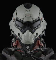 Mech by Vitaly BulgarovMore robots here. Futuristic Helmet, Futuristic Armour, Cyberpunk, Robot Design, Helmet Design, Suit Of Armor, Body Armor, Tactical Helmet, Sci Fi Armor