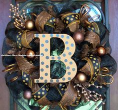Fall Animal Print Polka Dot Deco Mesh Wreath by myfriendbo on Etsy, $90.00