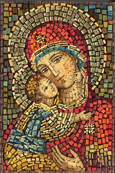 Polish Art Center - Matka Boska Wlodzimierska - Our Lady of Wladimir Mosaic Icon - Project Religious Icons, Religious Art, Mosaic Tile Art, Mosaic Mirrors, Stone Mosaic, Mosaic Portrait, Blessed Mother Mary, Mary And Jesus, Byzantine Art