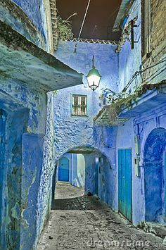 Night On The Streets Of Chefchaouen, Morocco