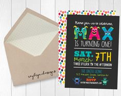 Our little monster is turing ONE! | Personalized Monster Theme First Birthday Invitation | Printable file by RayBrynDesigns on Etsy