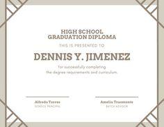 High School Graduation Certificate Template New Customize 60 Diploma Certificate Templates Online Canva High School Diploma, High School Graduation, Graduate School, Graduation Certificate Template, Certificate Templates, School Design, Curriculum, Brown, Simple