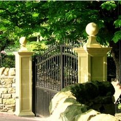 Tuscan Gate Pillar with FN2 Ball and Base - Gate Pillars - Architectural   Acanthus Cast Stone Products