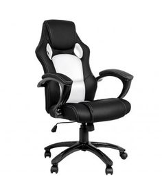 Sporty Racing Style Office Chair - Black White