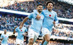 Download wallpapers Leroy Sane, Sergio Aguero, 4k, football stars, Man City, soccer, Manchester City, football, Premier League