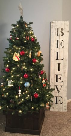 Distressed Christmas Believe Pallet Sign For Front