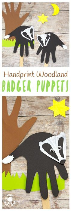 *With tutorial* - These cute handpring badger puppets are simple to make and a lot of fun. A handprint puppet craft to go with your favourite woodland animals story book or for imaginative play. Arts And Crafts For Teens, Art And Craft Videos, Creative Arts And Crafts, Animal Crafts For Kids, Crafts For Kids To Make, Projects For Kids, Art For Kids, Infant Art Projects, Craft Projects
