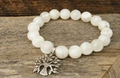 The Woods White Bead Bracelet with Tree, $300-SOLD