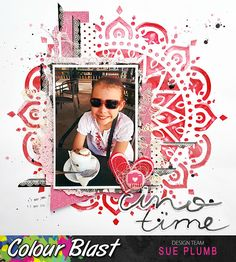 Time again to share another mixed media design team project created for Colour Blast . Today I have scrapbook la. 12x12 Scrapbook, Scrapbooking Layouts, Mandala Stencils, Color Spray, Kids Pages, Paper Doilies, Candy Cards, General Crafts, Red Accents