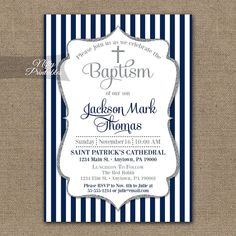 Boys Baptism Invitations Printable Navy Blue by NiftyPrintables