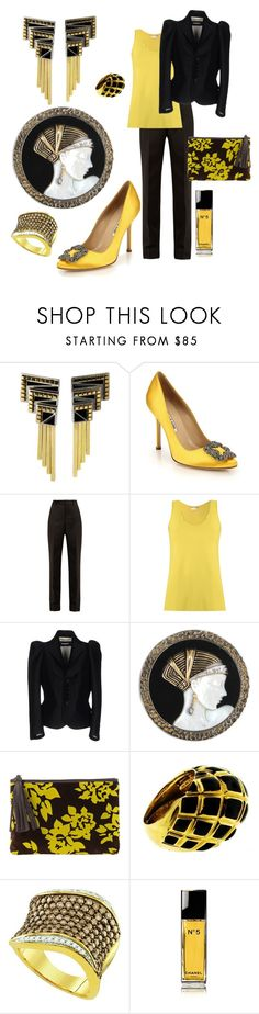 """""""Ode To Erte"""" by farradaymg ❤ liked on Polyvore featuring Erté, Manolo Blahnik, Maison Margiela, Lygia & Nanny, Dsquared2, Mary Katrantzou, David Webb, YES, Chanel and yellow"""
