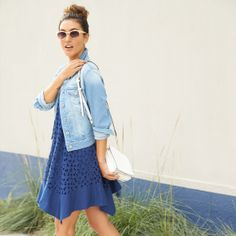 This cut out dress looks super cute, and the denim jacket is perfect. A lighter denim is always a great jean jacket and I have yet to find a good one!
