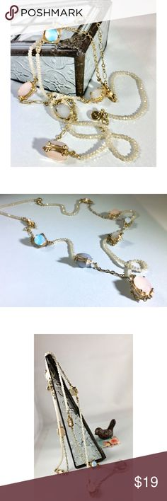 Beautiful Spring colors! LOFT Station necklace This beautiful LOFT Station necklace alternates stone stations set in gold, beads and chain. Really pretty. LOFT Jewelry Necklaces