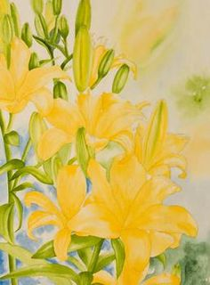 Step 3 of orange lilies watercolor painting demonstration by Lisa Hill