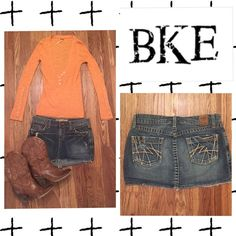 BKE Buckle denim jeans skirt Like new BKE Buckle denim jeans mini skirt size 28. Length from top to bottom is 12'.  Low rise fit. Madison style. Pair it with a sweater & boots for the fall/winter. Bundle it with my other listings, like the Free People sweater pictured here, to save money! ❤️ Buckle Skirts Mini