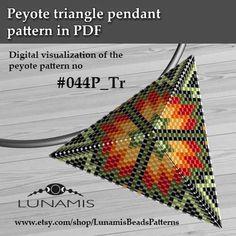 Peyote triangle patterns, pattern for triangle pendant, peyote patterns, beading, peyote stitch, digital file, pdf pattern #044P_Tr