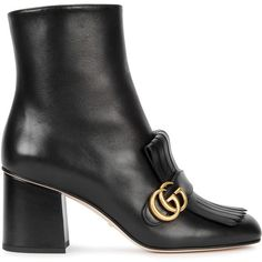 Gucci Black Fringed Leather Ankle Boots - Size 3 ($940) ❤ liked on Polyvore featuring shoes, boots, ankle booties, black fringe boots, leather bootie, short black boots, black leather booties and black high heel booties
