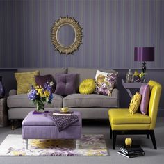 gray living room C Gray Purple yellow Striped Gray wall touch of gold Mod style uniquely different!