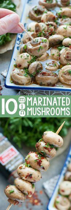 Minute Marinated Mushrooms Skip the jar and whip up these easy breezy 10 Minute Marinated Mushrooms at home!Skip the jar and whip up these easy breezy 10 Minute Marinated Mushrooms at home! Vegetable Dishes, Vegetable Recipes, Vegetarian Recipes, Cooking Recipes, Healthy Recipes, Marinated Mushrooms, Stuffed Mushrooms, Tapas, Healthy Snacks