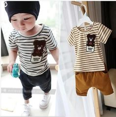 2015 Summe Fashion Kids Clothes Sets Stripes Little Bear Babys Boys Girls Clothing Cotton Babys Clothing Casual Boys Sets Hi Mommy! - All Discounted Baby Stuff. #babyproducts #babycare