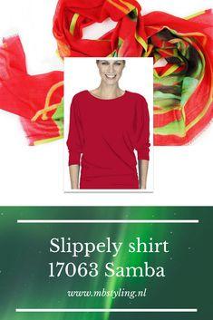 Dit Samba Slippely shirt 17063 is een los model met een boothals, heeft een brede band aan de onderkant en is verkrijgbaar in 16 actuele kleuren.  Dit rode Slippely shirt is gemaakt van 93% viscose en 7% elastan.  #slippely #slippelyshirt #slippelyshirtonline #onlineslippelyshirt #mbstyling #slippelyshirtsamba Samba, T Shirts, Band, Tee Shirts, Sash, T Shirt, Tees, Bands, Shirts