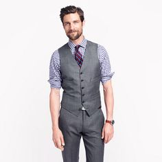 Ludlow suit vest in Italian worsted wool. J.Crew ...white shirts with a light pink tie with different patterns