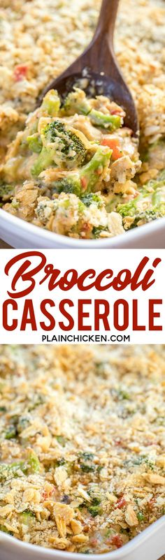 Broccoli Casserole - NO cream of anything soup!! Loaded with broccoli, onion, red bell pepper and mushrooms. Top with cheddar AND parmesan cheese! This is seriously DELICIOUS! Can make ahead and refrigerate or freeze for later! Onion, red bell pepper, mu