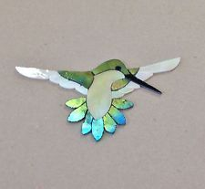 "PRECUT STAINED GLASS ART FEMALE HUMMINGBIRD MOSAIC INLAY HAND CRAFTED 6""x 3.5"":"