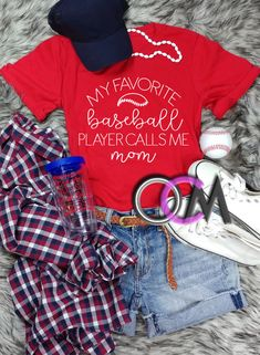 My Favorite Baseball Player Calls Me Mom Shirt, My Favorite Baseball Player Shirt, Proud Baseball Mom Shirt, Baseball Mama T-Shirt, Baseball Mom Shirt- Tshirt - One Crafty Momma Baseball Mom Shirts, Baseball Players, Mama Shirt, T Shirt, Call My Mom, Sports Mom, Christmas Sweaters, My Favorite Things, Tees