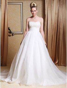 A-line Strapless Chapel Train Organza Wedding Gown - AUD $ 198.21
