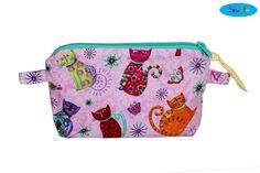 NEW Cat Zippered Bag  Pink Makeup Bag  Cat Makeup Case  by SewFlo, $15.99