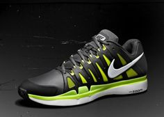 Nike Zoom Vapor 9 Tour SL Anthracite/Black/Cyber/White - worn by Federer in French Open 2012 Boy Shoes, Nike Shoes, Sneakers Nike, Mode Tennis, Nike Roger Federer, Nike Air Force 1 Outfit, Sneaker Release, Nike Vapor, Crazy Shoes