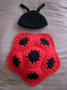 Ladybug hat & body set crochet newborn size photo prop / costume
