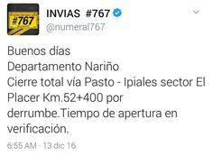 Cierre total vía Pasto - Ipiales sector El Placer Km.52400 por derrumbe.