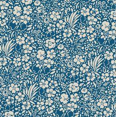Floral Garden Shore - vintage blue flower print by Seasalt Cornwall