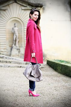 outfit look irene's closet ville medicee rosa fucsia cappotto