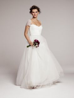 Wedding Dresses, Fashion, Cap sleeves, Tulle, Pearl, Sequin, Feminine, Embroidered, Full skirt, nordstrom wedding suite, roses by reem acra,...